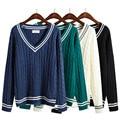 Harajuku 2017 Корейских новые зимние свитера повседневная женщин V шеи kawaii полосой свитера толстый свитер для женщин одежда