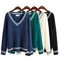 Harajuku 2017 de Corea del nuevo invierno suéteres casuales suéteres de las mujeres V cuello de la raya de kawaii grueso suéter para mujer ropa