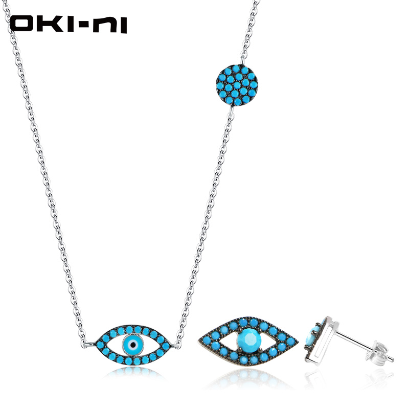 OKI NI Hot New Sterling 925 silver jewelry Sets & More Necklace & Earring Set Chain With Pendant Gift set For Women TZ EMZY 01