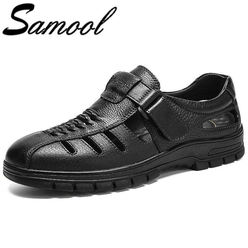 Sandals Men Genuine Leather Men Shoes Summer 2018 New Arrivals Mens Sandals Men Shoes Sandalias Hombre Big Size 38-45 wx5