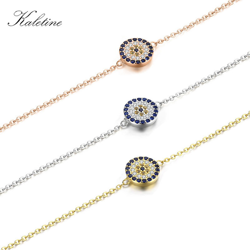 KALETINE Genuine 925 Sterling Silver Bracelets For Women Blue CZ Turkish Evil Eye Bracelet Gold Jewelry 2018 Fashion KLTB008 blue cz evil eye disco charm cz cross dainty silver chain girl women evil eye jewelry 925 sterling silver lucky eye necklace