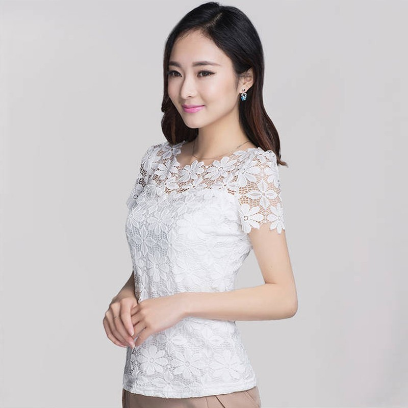 2018 Summer Women Sexy Floral Lace Slim Fitted Solid Blouses Shirts Ladies Elegant Casual Short Sleeve
