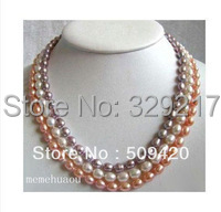 3 row Multicolor Pink white purple Pearl necklace 17-18""
