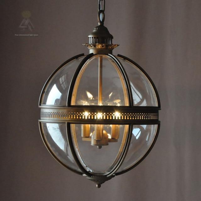 online shop ouruiju vintage loft glass globe pendant light iron
