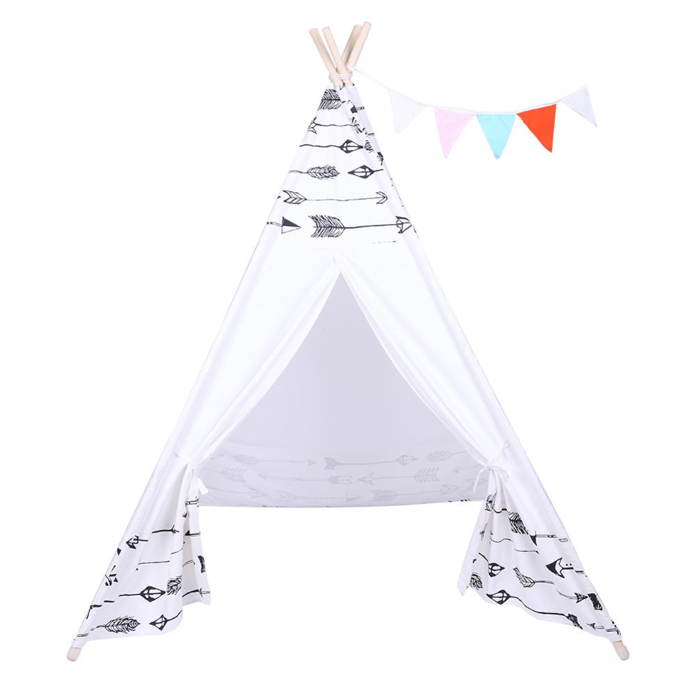 Tente de Style indien enfants tente de tipi bébé maison de poupée petits drapeaux colorés rouleau ombre poche poche flèche motif tentes de plage