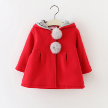 Newborn baby girl spring winter little girl hooded Rabbit Ear coat jacket Turtleneck children's clothing Coats baby coat 520
