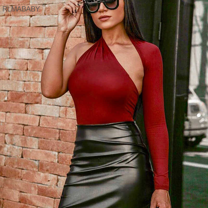 e150d1df3631 RLMABABY Sexy One Shoulder Bodycon Bodysuit Asymmetrical Hollow Out Long  Sleeve Playsuit Backless Button Rompers Womens