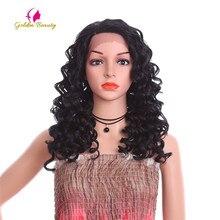 Вьющиеся черные парики Golden Beauty для прически в африканском стиле, синтетические волосы с боковой частью, парик фронта для женщин 20 дюймов