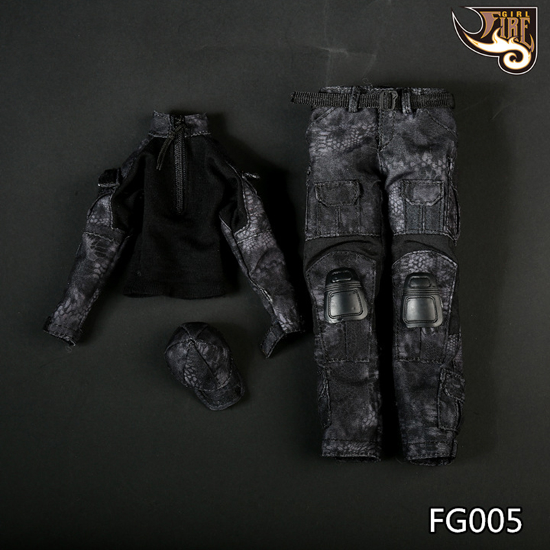 """1/6 Scale Fire Girl Toys FG005 Female/FG006 Male Black Snake Camouflage Uniform Combat Clothing Pants Suit For 12"""" Action Figure"""