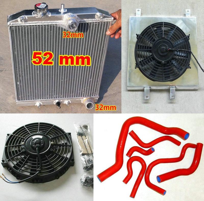 3Row Aluminum Radiator FOR 1992-2000 HONDA CIVIC CRX DEL SOL B16A/B18C 1.6L EK4/EK9 EG6/EG9 EM1 MT 32mm Pipe In/Out + Shroud Fan