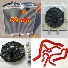 Трехрядный алюминиевый радиатор для 1992-2000 HONDA CIVIC CRX DEL SOL B16A/B18C 1.6L EK4/EK9 EG6/EG9 EM1 MT 32 мм Труба вход/выход+ кожух вентилятора