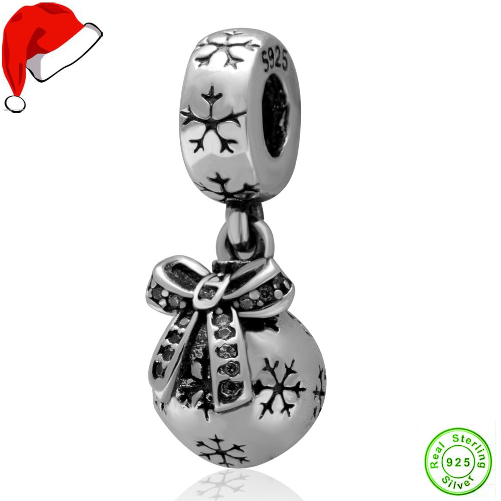 Authentic 925 Sterling Silver Christmas Ornament Dangle Charms With Clear  Cz Stone(china)