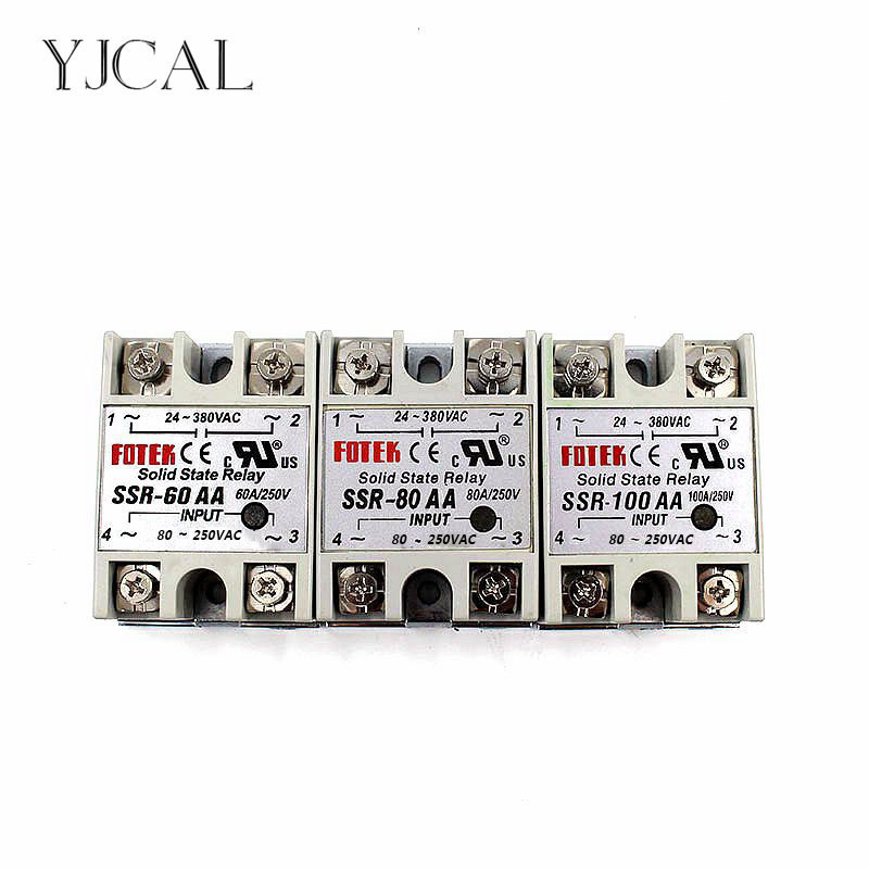 YJCAL Solid State Relay SSR-60AA SSR-80AA SSR-100AA 60A 80A 100A AC Control AC Relais 80-250VAC TO 24-380VAC SSR 60AA 80AA 100AA original 3 phase ac solid state relay ssr 15a 80 250vac normally open electronic switch