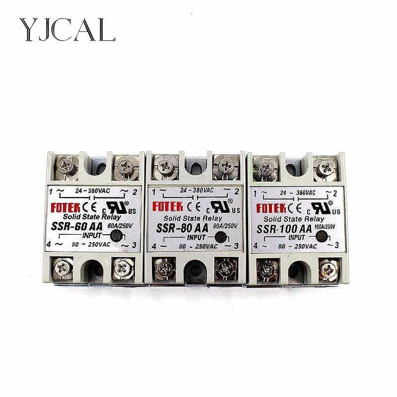 YJCAL relé de estado sólido SSR-60AA SSR-80AA SSR-100AA 60A 80A 100A AC Control Relais 80-250VAC a 24-380VAC SSR 60AA 80AA 100AA