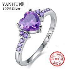 95% OFF! YANHUI New Trendy Original 925 Sterling Silver Heart Ring Romantic Love Purple CZ Crystal Jewelry Rings for Women HR998