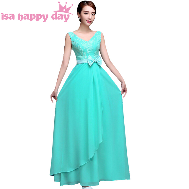 Cheap Sexy Hot Women Semi Formal Floor Length Chifon Turquoise
