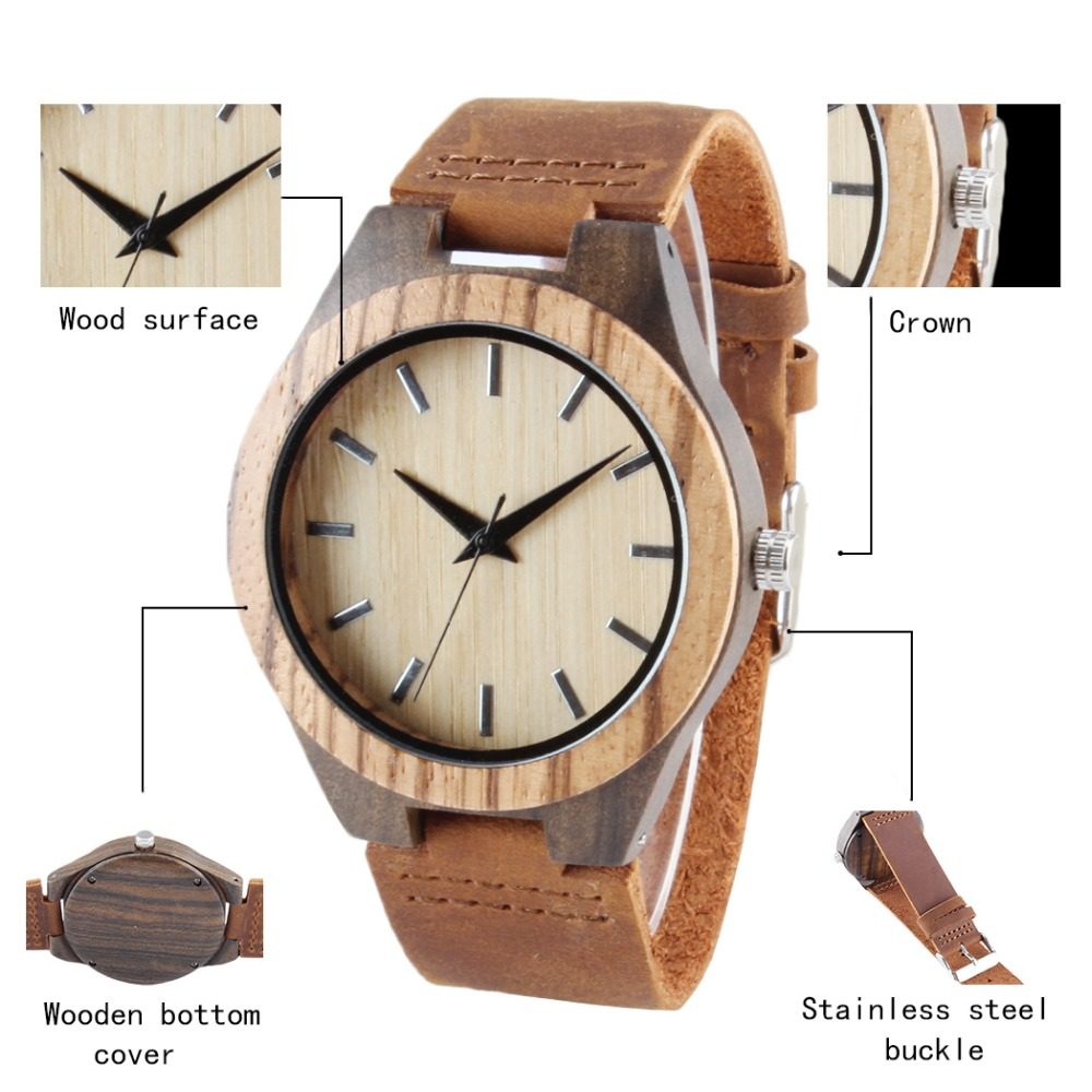 Vintage Nature Wood Wristwatch Genuine Leather Band Strap Watch Bamboo Novel Rhombus Carving Bohemia Style Fashion Gift