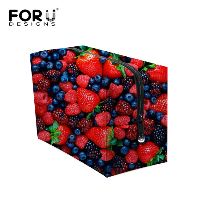 Brand Women Make up Organizer Bag Fruit Strawberry Print Women Luxury Cosmetic Bags Travel Beautycase Bolsas Maleta de Maquiagem