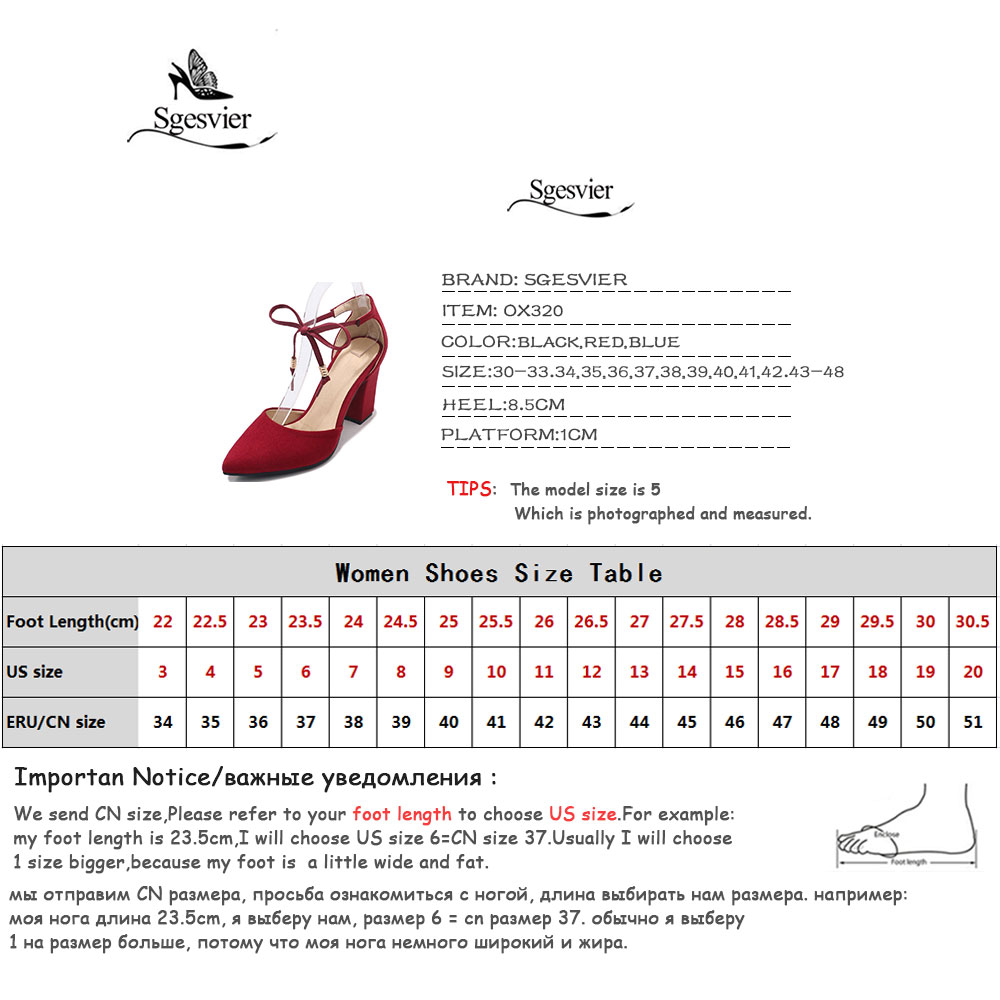 SGESVIER Brand Women Sandals Thick Heels Shoes Woman Black Red Blue High Heel Sandals 2018 Summer Pointed Toe Size 30-48 OX320
