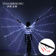 Belly-Dance-Props Wings LED Women with Sticks 360-Degrees Angle-Of-Opening Shining Girls
