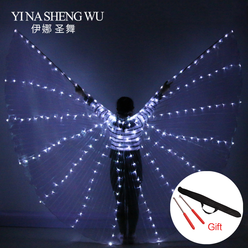 2018 novas mulheres dança do ventre adereços 360 graus led brilhando asas meninas dança asas ângulo de abertura dançarino adereços asas com varas
