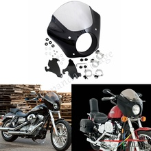 Papanda Black and Clear Gauntlet Headlight Fairing W/Mounting Hardware for Harley Sportster XL 1100 1200 Iron 883 XL883N motorcycle gauntlet fairing