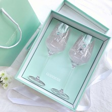 2pc Luxury Wine Glass Cup Hand carved flower inlaid drill Feather Lead-free crystal glass champagne wedding glasses Gift box set