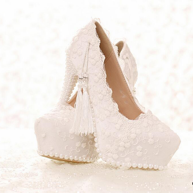 Sweetness Spring and Summer Lady High Heels Wedding Party Satin Shose White Lace Bridal Dress Shoes Graduation Party Prom Pumps