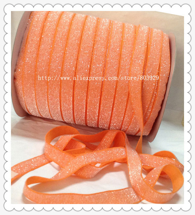 50yards lot Non stretch 1 5 Frosted Tangerine Metallic Ribbon
