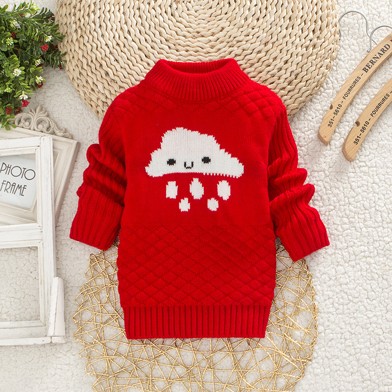DIIMUU Baby Boys Girls Clothing Casual Print Winter Warm Long Sweater Kids Fashion Clothes Outdoor Leisure Tops 1-3 Years 4
