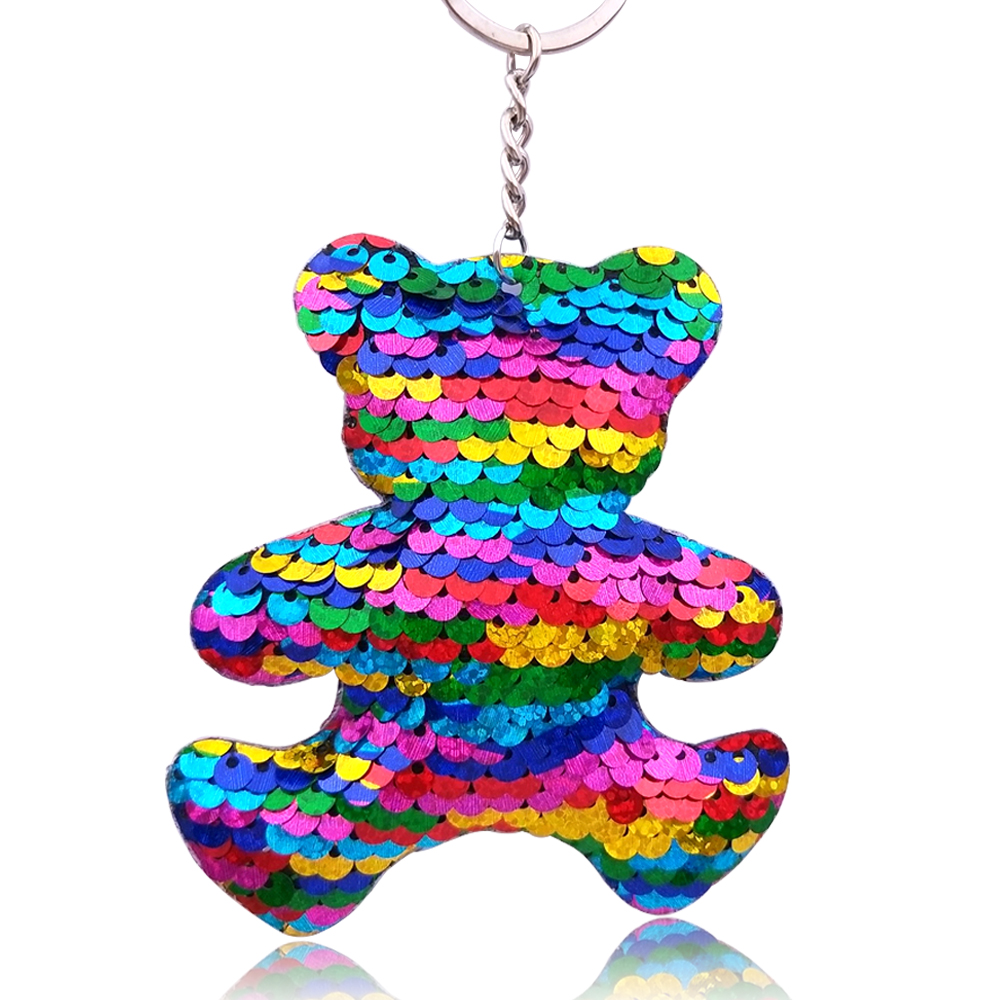 Detail Feedback Questions about 9 8CM Anime Bear Keychain Color Changing Glitter  Sequins Cartoon Car Keyrings For Women Handbag Pendant Cute Key Chains ... a1436636a80f
