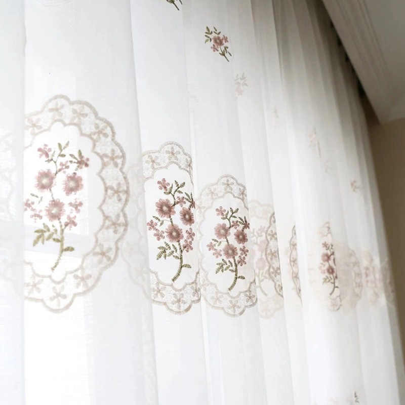 Korean Style Pink Embroidered Lace Tulle For Bedroom Blue Flower Window Screen Sheer Panels Curtains For Living Room MY125#40