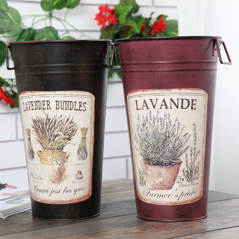 Retro Large Tin Bucket modern <font><b>flower</b></font> arranging Barrel Home Decoration Crafts Garden Pots Planters