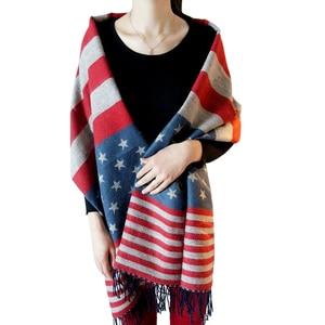 Freeshipping Hiphop USA american national flag star scarf wool winter warm Printed Shawl