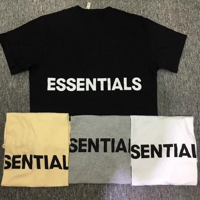 c3750829 2018 New Fear Of God Essentials T shirts Men Women 1:1 Hip Hop Milky Gray  Fear Of God T-Shirt FOG Essentials Boxy Graphic Tees