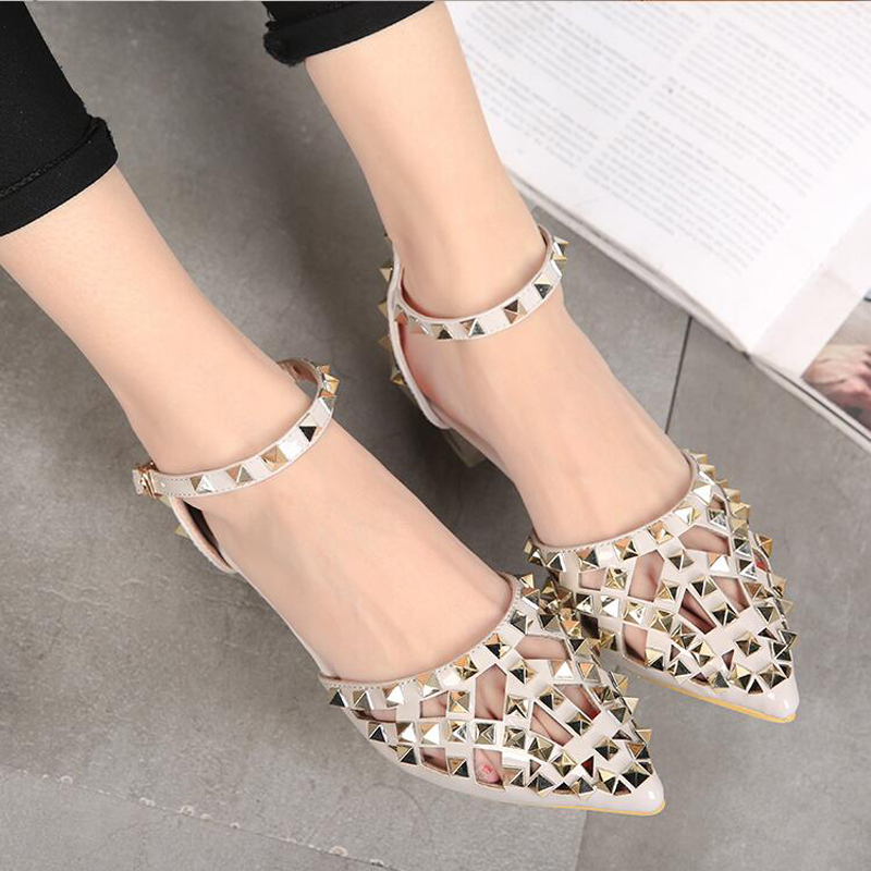 High Quality Luxury Brand Shoes New 2018 Summer Elegant Women Rivet Shoes Fashion Women Pointed toe Flats-in Women's Flats from Shoes    3
