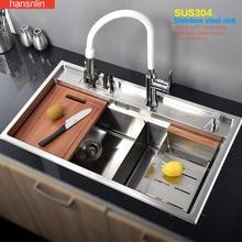 double bowl stainless steel kitchen sink with faucet tap evier fregadero de la cocina disipador lavello della cucina spoelbak ke