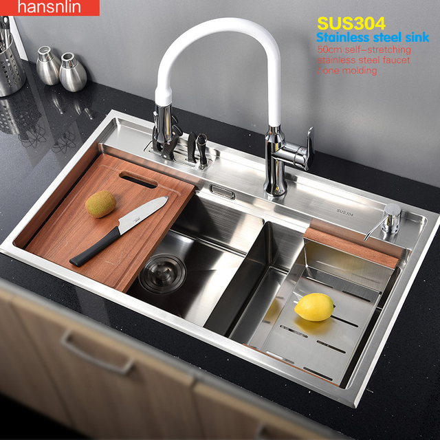 Double Bowl Stainless Steel Kitchen Sink With Faucet Tap Evier Fregadero De  La Cocina Disipador Lavello