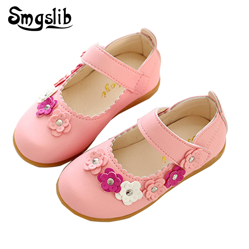 Girls Leather Shoes Pu Flower Princess Toddler Solid All-match Casual Baby Top Quality