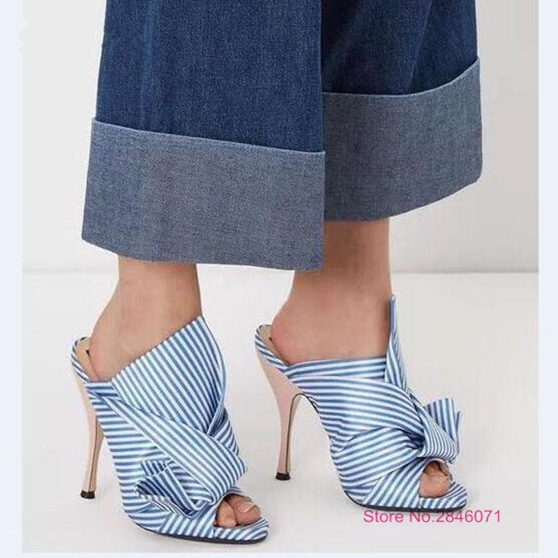 Eunice Choo Designer Slippers Blue Knotted Striped Satin Leather Mules Sandals Open Toe Flats Slides Runway Party Wedding Shoes eunice