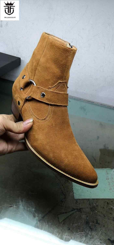 2019 Yeni erkek ayakkabısı Chelsea çizmeler yarım çizmeler erkek süet deri patik parti ayakkabıları erkek