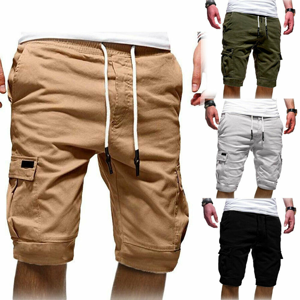 Men Pocket Shorts Slim Fit Stretch Flat Front Summer Casual Solid Color Beach Knee Length Trousers Pants