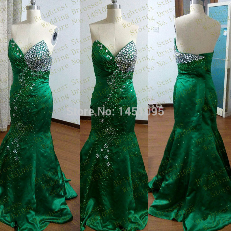 Real Sample Emerald Green Satin Mermaid Long Fitted Bodice Sexy Beaded With Crystal Prom Party font