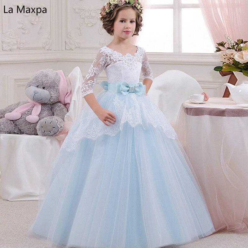 Children's Wedding Dresses Girls Lace Bowknot Birthday Party Evening Dress Princess Light Bule Tutu Perform Long Dress bowknot see thru lace vintage dress