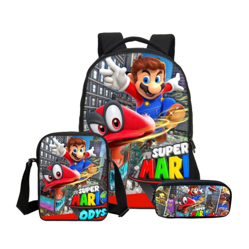New 3pcs/Set School Bag Super Mario Printing Backpack Children Combination Bookbag Fashion Boy School Backpack Daily Mochila
