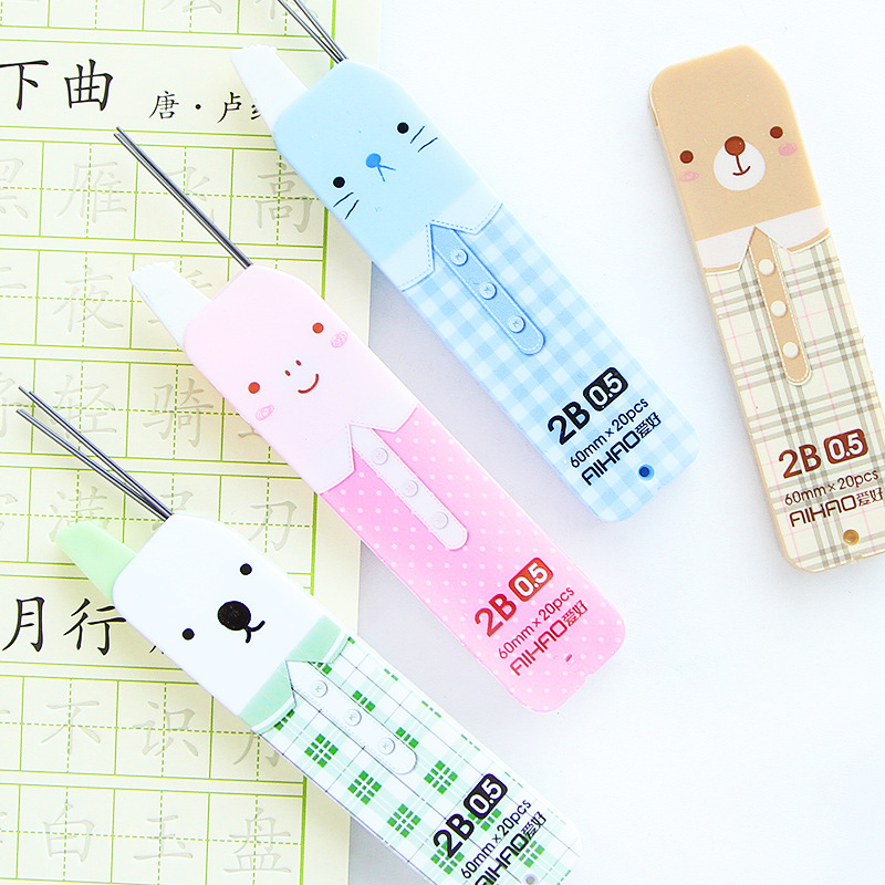 3 Pcs Cute Cartoon Mechanical Pencil Automatic Pencil Lead 0.5mm 2B Graphite Pencil Refill Office School Supplies