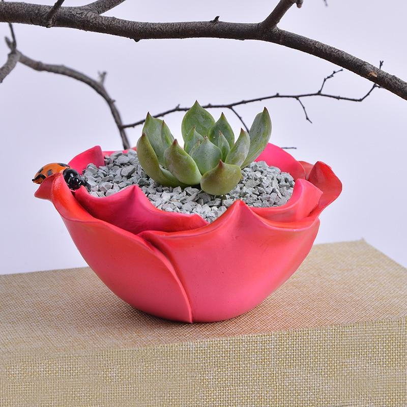 Creative Rose Flower Shape Flower Pot Resin Ornament Decoration Succulent Plants Nursery Pots Micro landscape Decor