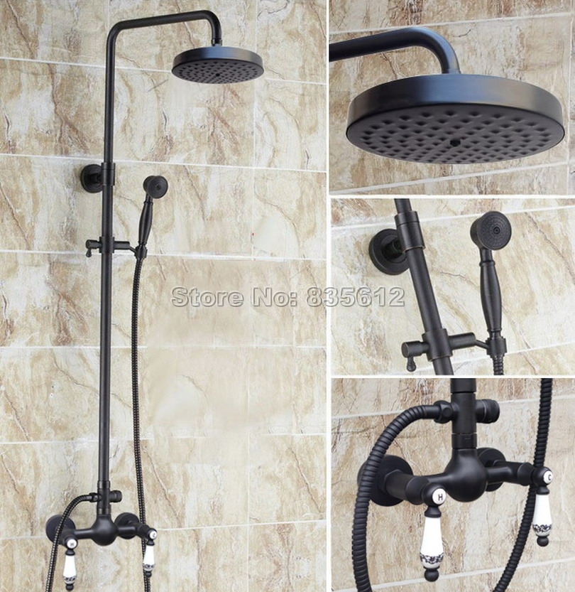 Wall Mounted Black Oil Rubbed Bronze Rain Shower Faucet Set with Hand Spray & Bathroom Dual Handles Mixer Taps Wrs516