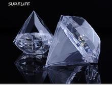24 個明確なダイヤモンドボックスキャンディーボックス結婚式の好意のギフトボックス透明なプラスチックの箱結婚式 Favours お土産ゲスト