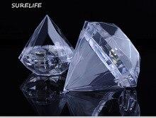 24 pçs caixas de diamante claro caixa de doces casamento favor caixa de presente transparente caixa de plástico lembrancinhas de casamento para convidados
